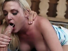 Sex starved tart Tristyn Kennedy with big hooters and hairless pussy gets skull team-fucked
