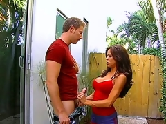Big tittied hottie Hunter Bryce plays with enormous huge weenie of one handsome stud using her magic face hole and tender hands outdoors. Spend time with this horny couple.
