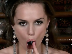 Each inch of this brunette babes body is oozing with sexiness, her eyes, hair, shapely figure, and full lips wrapped around her glass dildo says fuck me. Tori Black masturbates.