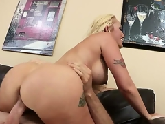 But excited and lonely Alana Evens receives more than just comfort from hung and hot Jordan Ash when she seeks advice, she receives to suck, tit wank and ride his manly cock.
