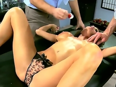 Two horny and indeed aroused studs Jordan Ash and Manuel Ferrara acquire their hands on a grogeous brunette milf in blue dress Veronica Avluv and strip her, revealing her big breasts
