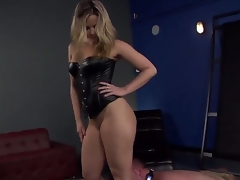 Gorgeous and really sexy dominant blonde Alexis Texas with amazing shaped body and hot large ass makes her serf boy Jeremy Conway crawl and take up with the tongue her heels on the floor