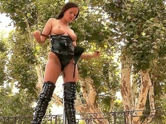 Pretty professional stripteaser Linet clothed in hawt latex clothes teases us by unbaring slowly her sweet plump boobs dancing at the pole.