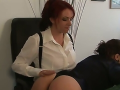 Kylie Ireland and Sinn Sage are ready to have some proper fun at work instead of just wasting time grinding. Watch the redhead explore Sinns nice-looking taut body here!