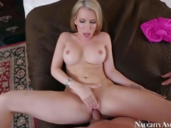 Courtney Cummz is a dangerously sexy wife with blonde hair and perfect boobs. MILF spreads her long legs wide and gets her pink hole drilled by her lucky spouse from your point of view