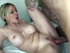 Fair-haired sexy woman Angela Attison is a MILF with huge billibongs and neat soaked pussy. Stacked golden-haired parts her legs and gets her vagina fucked silly by tattooed young guy. She fucks the shit out of MILF