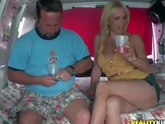 Provocative cheep looking blonde milf with delicious ass and worthwhile hooters in short concupiscent denim petticoat gets lured by filthy experienced dude in his fuck van on a inactive afternoon