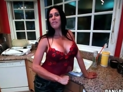 Big tits housewife strips and masturbates