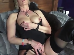 Black boots and lingerie on sexy blond aged