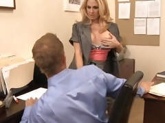 MILF boss seduces employee