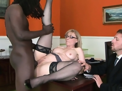 Big black male is doing smth incredible with the cunt of nice milf