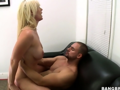This babe rides him like a cowgirl and gets drilled hard, ass up and spread wide