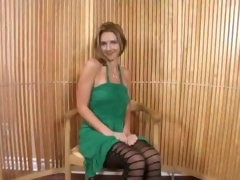 Mature Blonde With Minidress Bends Over