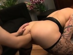 The morose tattooed babe with big tits and a fabulous ass gets their way pussy fisted unfathomable