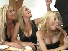 Three beautiful milfy blondes Tyler Faith. Holly Sampson and Tanya Tate are very curious about waiter Vooddoo and his large cock. They pull out his sausage and turn dinner into CFNM orgy! They blow. stroke and ride his large dick with passion!