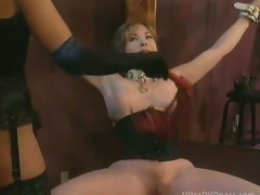 Busty Submissive Mature Gets Tied Up and Whipped By Super Hot Domina